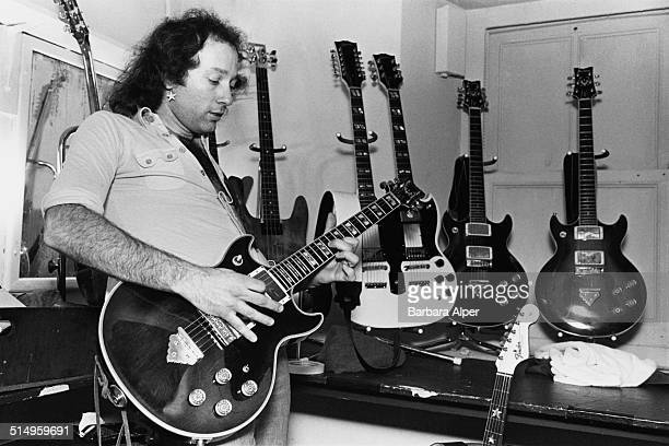 Guitarist Richie Ranno, of American heavy metal group Starz, backstage with a selection of guitars at the Paradise Theater in Boston, Massachusetts,...