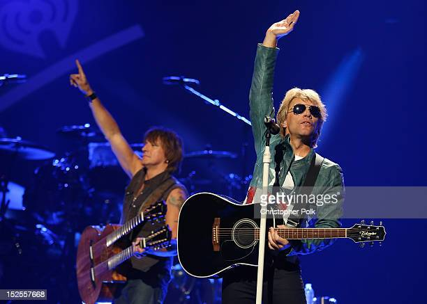 Guitarist Richie Sambora and singer Jon Bon Jovi of Bon Jovi perform onstage during the 2012 iHeartRadio Music Festival at the MGM Grand Garden Arena...
