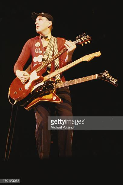 Guitarist Rick Nielsen performing on stage with American rock group Cheap Trick circa 1979
