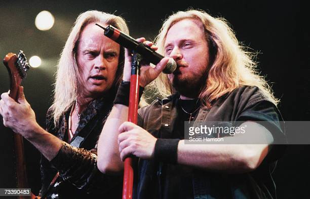 Guitarist Rickey Medlocke and singer Johnny Van Zant of American southern rock band Lynyrd Skynyrd perform on stage at the Mandalay Bay Events Center...