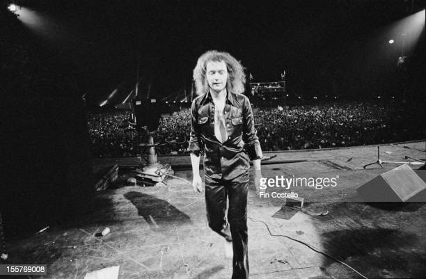 Guitarist Ritchie Blackmore on stage with English rock group Deep Purple at the California Jam rock festival, at the Ontario Motor Speedway, Ontario,...