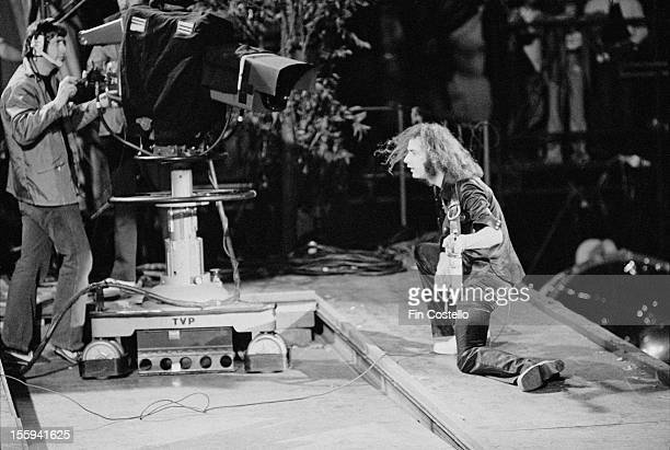 Guitarist Ritchie Blackmore performing for a TV camera during Deep Purple's performance at the California Jam rock festival, Ontario Motor Speedway,...