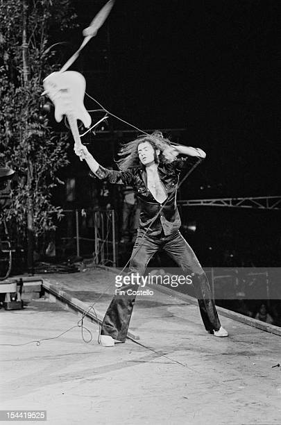 Guitarist Ritchie Blackmore performing with English rock group Deep Purple at the California Jam rock festival, at the Ontario Motor Speedway,...