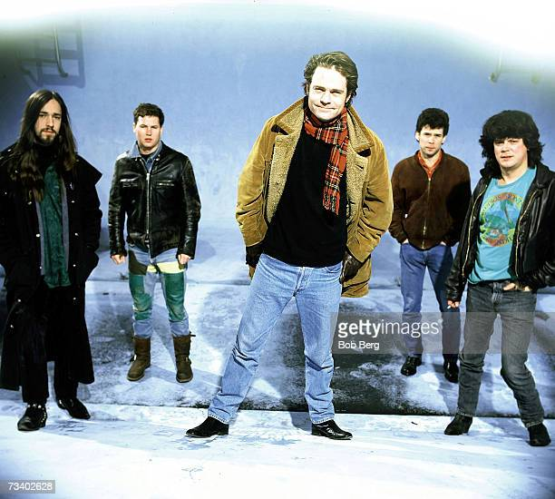 TheTragically Hip guitarist RobBaker drummer Johnny Fay lead singer Gordon Downeyguitarist Gord Sinclair and bassist Paul Langlois pose for a...