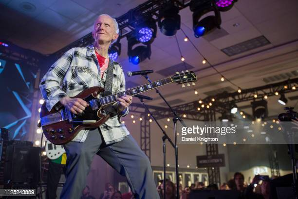 Guitarist Robby Krieger of The Doors performs on stage at the Gibson Guitars booth during the 2019 NAMM Show at Anaheim Convention Center on January...