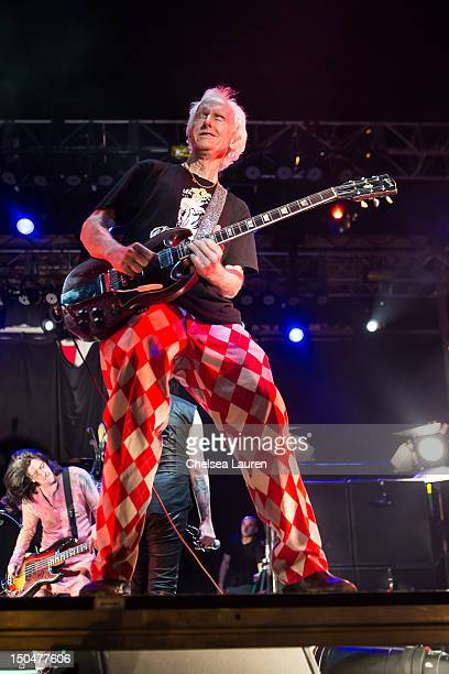 Guitarist Robby Krieger of The Doors performs with Marilyn Manson on day 3 of the Sunset Strip Music Festival on August 18 2012 in West Hollywood...