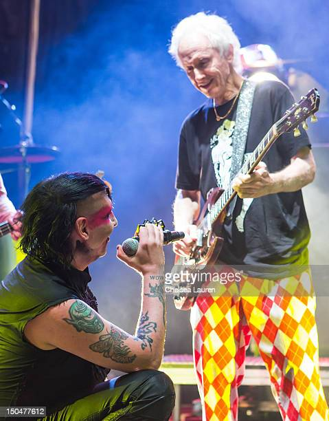 Guitarist Robby Krieger of The Doors performs with vocalist Marilyn Manson on day 3 of the Sunset Strip Music Festival on August 18 2012 in West...