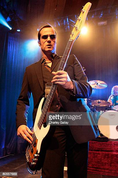 Guitarist Robert DeLeo performs onstage during the Stone Temple Pilots tour announcement and performance held at a private residence on April 7 2008...