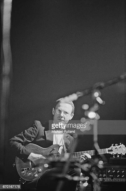 Guitarist Robert Fripp performing with English rock group King Crimson London 1982
