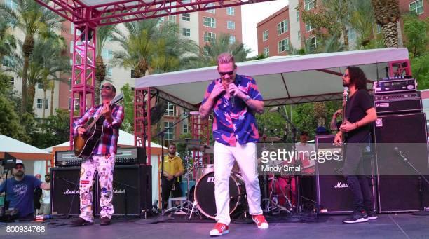 Guitarist Rodney Sheppard singer Mark McGrath and bassist Kristian Attard of Sugar Ray perform at the Flamingo Go pool at Flamingo Las Vegas on June...
