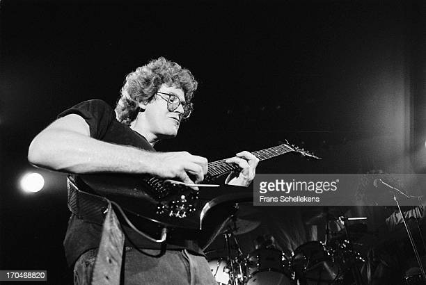 Guitarist Roger Steen from American group The Tubes performs live on stage at Tivoli in Utrecht, Netherlands on 19th November 1987.