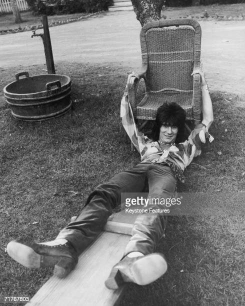 Guitarist Ron Wood of English rock group The Faces relaxes during the band's American tour, 1973.