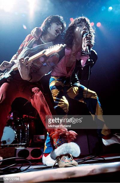Guitarist Ronnie Wood and singer Mick Jagger of the Rolling Stones performing on stage at the Knebworth Fair in Hertfordshire, England on August 21,...