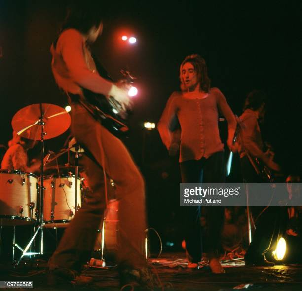 Guitarist Ronnie Wood and singer Rod Stewart of British band the Faces performing on stage in 1971
