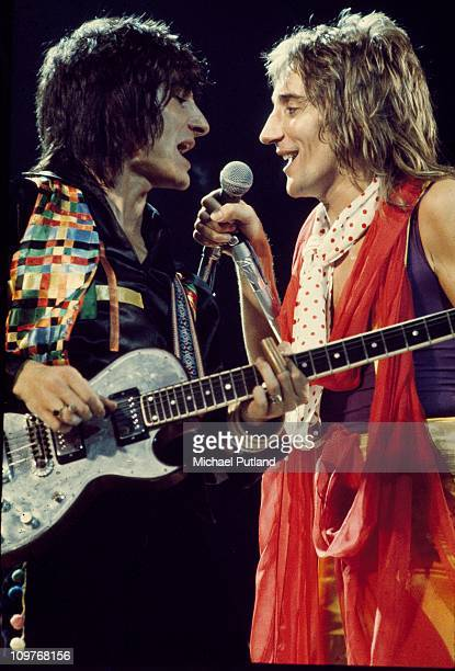 Guitarist Ronnie Wood and singer Rod Stewart of British band the Faces performing on stage in 1972