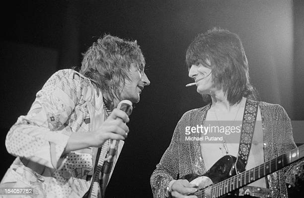 Guitarist Ronnie Wood and singer Rod Stewart of the rock band Faces performing at the Roundhouse in London during the Camden Festival 6th May 1972