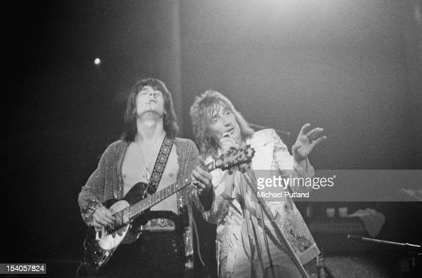 Guitarist Ronnie Wood and singer Rod Stewart of the rock band Faces performing at the Roundhouse in London, during the Camden Festival, 6th May 1972.