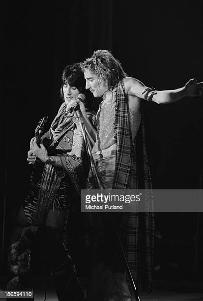 Guitarist Ronnie Wood and singer Rod Stewart performing with Faces UK December 1973