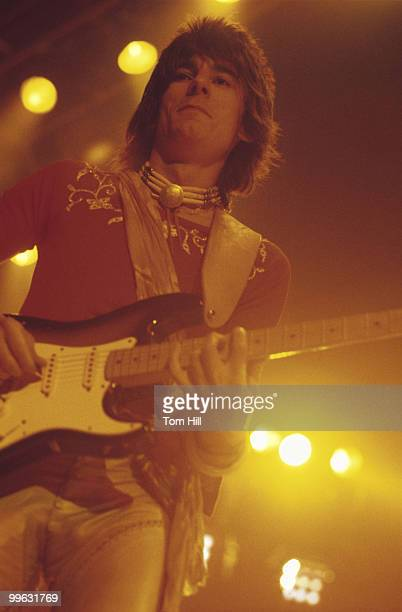 Guitarist Ronnie Wood performs with The Rolling Stones at the Omni Coliseum on July 30 1975 in Atlanta Georgia