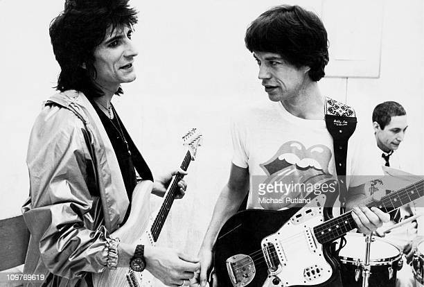 Guitarist Ronnie Wood singer Mick Jagger and drummer Charlie Watts during the production of the music video for 'Respectable' in New York in 1978