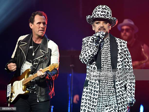 Guitarist Roy Hay and singer Boy George of Culture Club perform at The Pearl concert theater at Palms Casino Resort on August 21 2016 in Las Vegas...