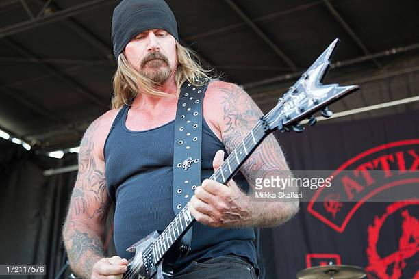 Guitarist Rusty Coones of Attika7 is performing at Rockstar Energy Drink Mayhem Festival on June 30 2013 in Mt View California