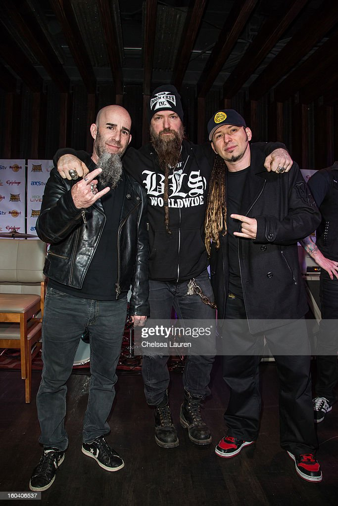 Guitarist Scott Ian of Anthrax, musician Zakk Wylde of Black Label Society and guitarist Zoltan Bathory of Five Finger Death Punch attend the Revolver Golden Gods Awards press conference at Hard Rock Cafe - Hollywood on January 30, 2013 in Hollywood, California.