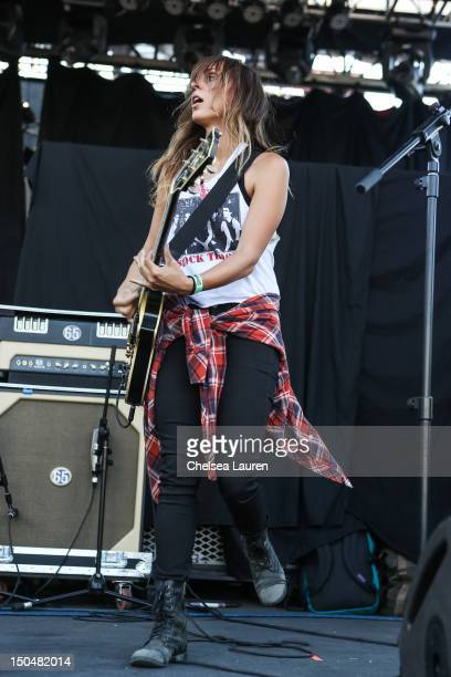 Guitarist Siouxsie Medley of Dead Sara performs on day 3 of the Sunset Strip Music Festival on August 18 2012 in West Hollywood California
