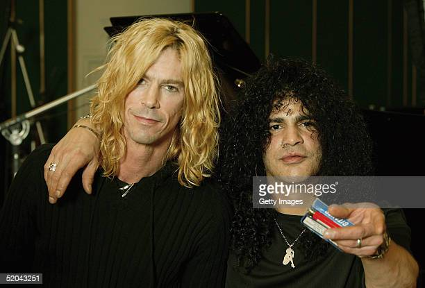 Guitarist Slash and bassist Duff McKagan of Velvet Revolver record the charity cover of Eric Clapton's Tears In Heaven Tsunami Relief Single at...