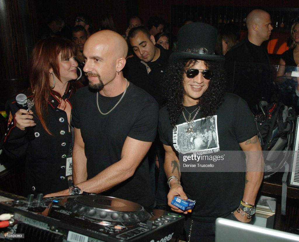 Guitarist Slash (R) and his wife Pearla (L) attend a Velvet Revolver after party at JET Nightclub at The Mirage Hotel and Casino on September 21, 2007 in Las Vegas, Nevada.