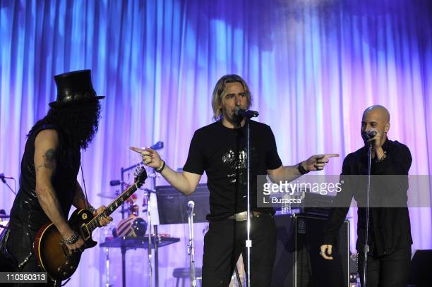 Guitarist Slash and singers and Chris Daughtry and Chad Kroeger during the 2008 Clive Davis PreGRAMMY party at the Beverly Hilton Hotel on February 9...