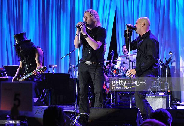 Guitarist Slash and singers Chad Kroeger and Chris Daughtry during the 2008 Clive Davis PreGRAMMY party at the Beverly Hilton Hotel on February 9...