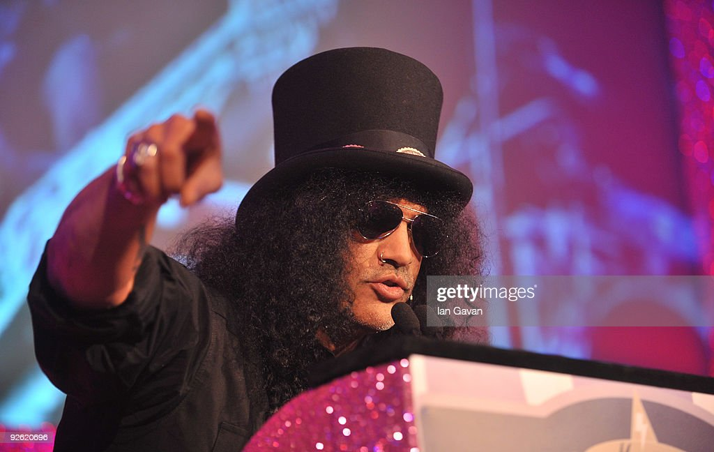 Guitarist Slash during the Classic Rock Roll Of Honour Awards at the Park Lane Hotel on November 2, 2009 in London, England.