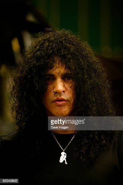 Guitarist Slash of Velvet Revolver records the charity cover of Eric Clapton's Tears In Heaven Tsunami Relief Single at Whitfield Studios on January...