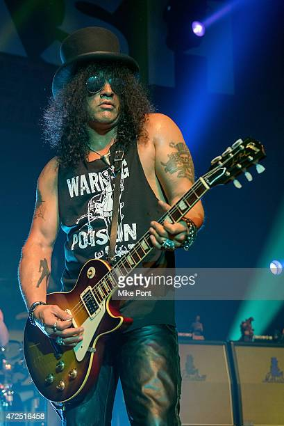 Guitarist Slash performs during Slash featuring Myles Kennedy and The Conspirators in Concert at Terminal 5 on May 7 2015 in New York City