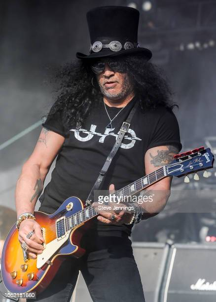 Guitarist Slash performs on Day 2 of Aftershock Festival 2018 at Discovery Park on October 14 2018 in Sacramento California