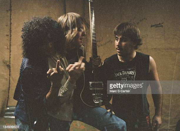 Guitarist Slash Ron Schneider and Adam Greenberg of the rock band Roadcrew at Fortress rehearsal studio in 1983 in Los Angeles California