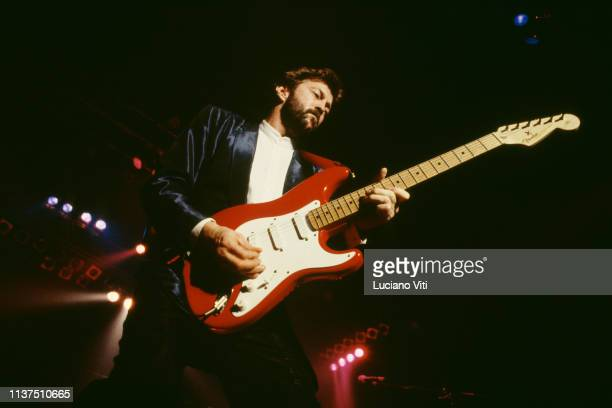 Guitarist, songwriter and vocalist Eric Clapton performing in Rome, Italy, 1986. He is playing a Fender Stratocaster guitar.