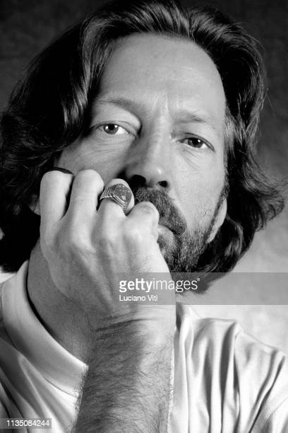Guitarist songwriter and vocalist Eric Clapton Rome Italy 1989