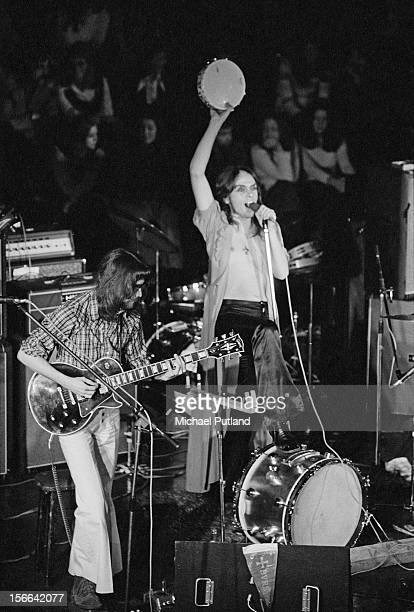 Guitarist Steve Hackett and singer Peter Gabriel performing with progressive rock group Genesis at Newcastle City Hall 1st October 1972