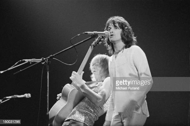 Guitarist Steve Howe and singer Jon Anderson performing with English progressive rock group Yes at the Rainbow Theatre London 14th January 1972