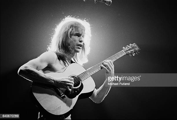 Guitarist Steve Howe performing with English progressive rock group Yes at Madison Square Garden New York City September 1978 The band played four...