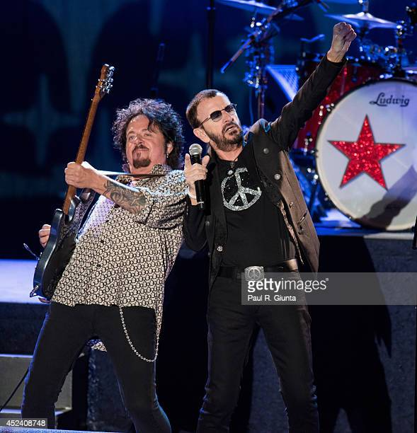 Guitarist Steve Lukather and Singer Ringo Starr perform onstage at The Greek Theatre on July 19 2014 in Los Angeles California