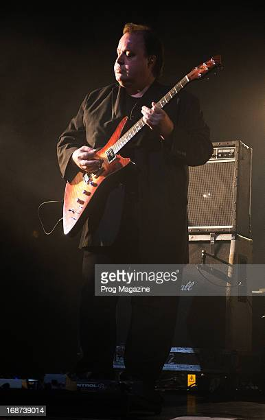 Guitarist Steve Rothery of English progressive rock group Marillion performing live on stage at The Forum in London during the Sounds That Can't Be...
