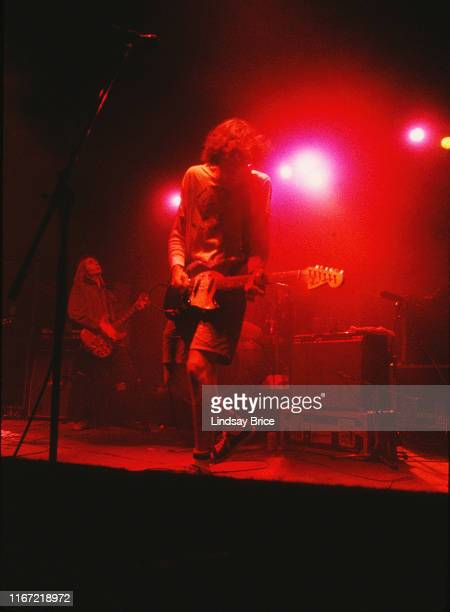 Guitarist Steve Turner and guitarist and vocalist Mark Arm perform with bassist Matt Lukin and drummer Dan Peters in Mudhoney on September 26 1992 at...