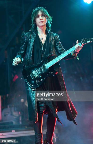 Guitarist Sugizo of the band X Japan performs on the Sahara stage during week 1 day 2 of the Coachella Valley Music and Arts Festival on April 14...
