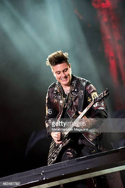 Guitarist Synyster Gates of American hard rock group Avenged Sevenfold performing live on the Stephen Sutton Main Stage at Download Festival on June...