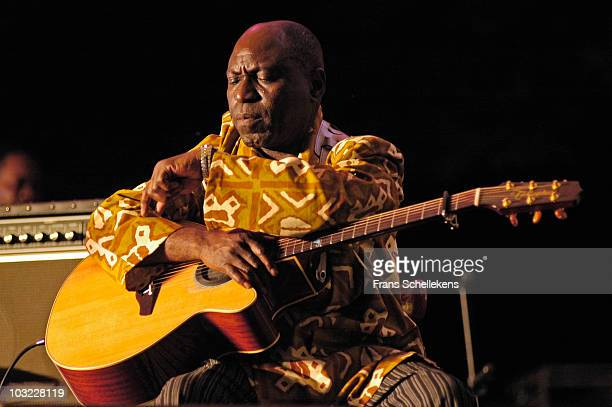 Guitarist Syram Mbemza from Congolese band Kekele performs live on stage at the Afrika festival in Hertme, Holland on June 02 2005