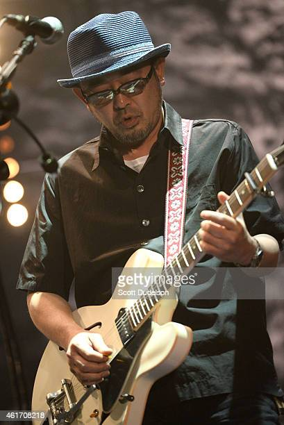 Guitarist Tamio Okuda of the bands The Verbs and Unicorn performs on stage at Club Nokia on January 17, 2015 in Los Angeles, California.