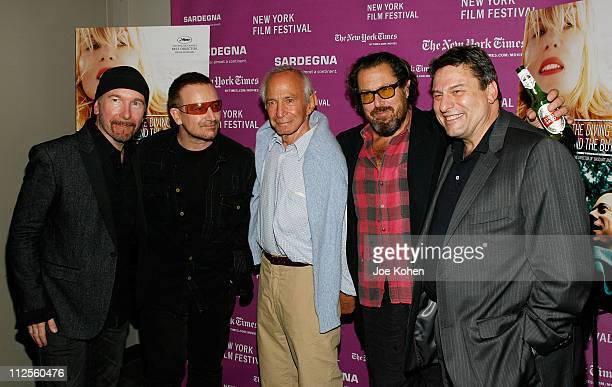 Guitarist The Edge, musician Bono, actor Ben Gazzara, director Julian Schnabel and Richard Pena - Program Director, Film Society of Lincoln Center...